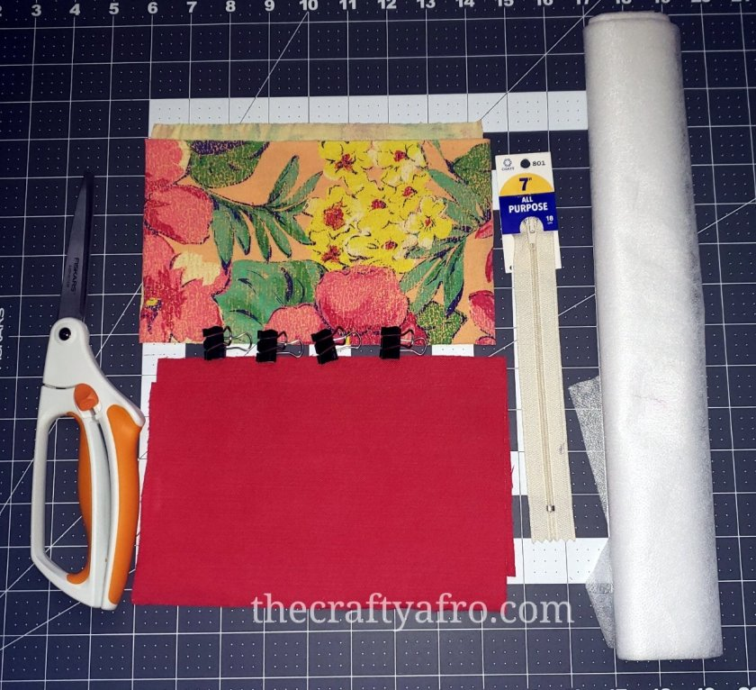 Supplies needed to put your zippered pouch together.