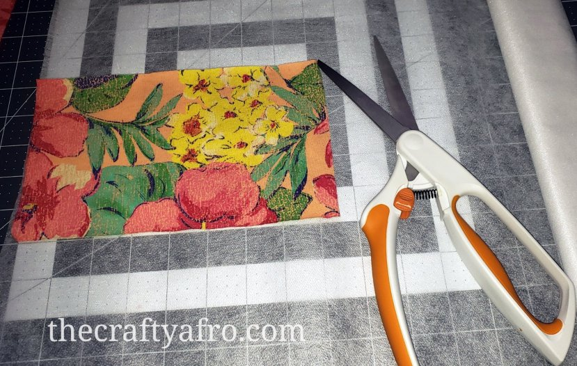 Cut your interfacing to the size of your fabric.
