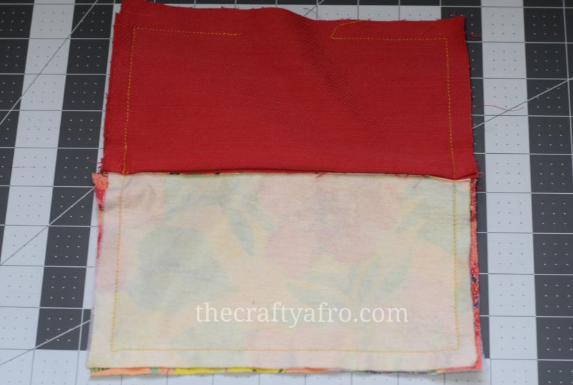 The perimeter of the zippered pouch is sewn closed with a small hole in the linning fabric.