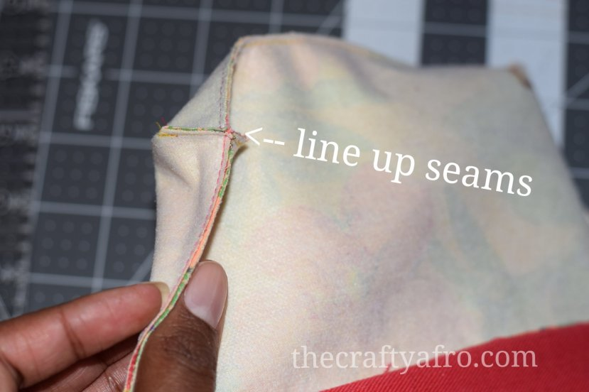 Align your seams before sewing the corners together.