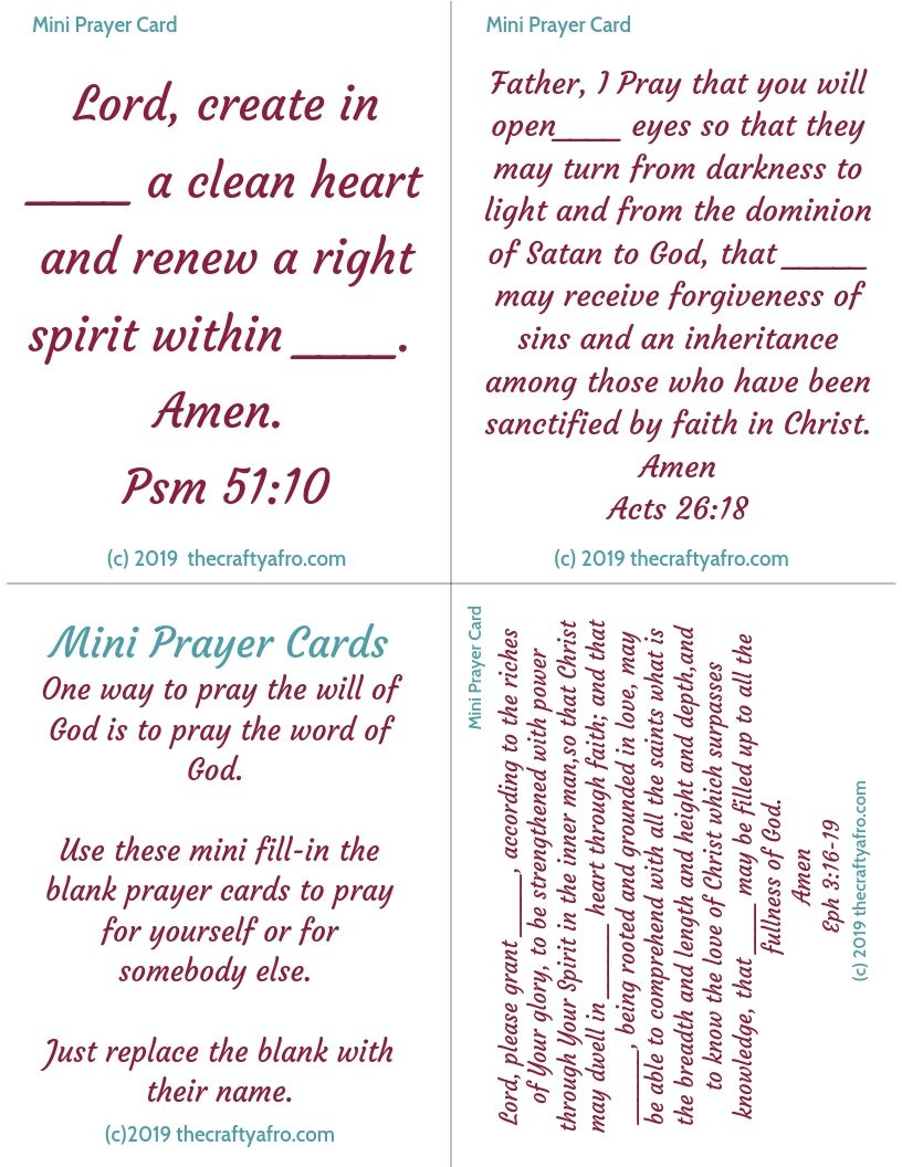 Learn how to pray scripture using these mini-prayer cards.