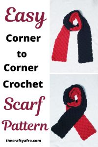 Easy and simple corner to corner two color crochet scarf pattern.