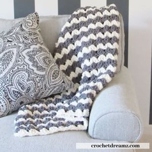 white and grey crochet afghan