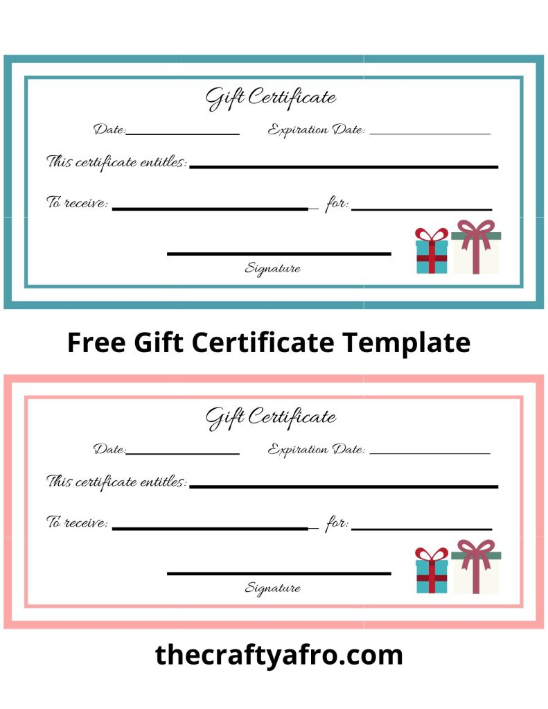 Free gift certificate template.
