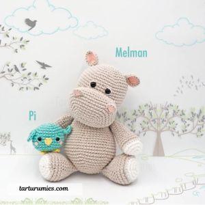 Free amigurumi crochet pattern hippo and bird.